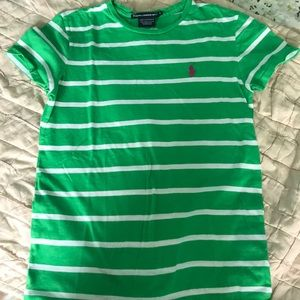 GREEN AND WHITE STRIPED RALPH LAUREN TEE